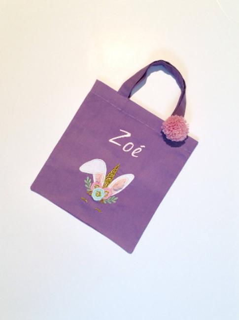 Tote bag personnalisé violet lapin