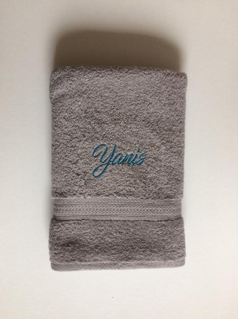 Serviette de bain grise 70 cm par 140 cm