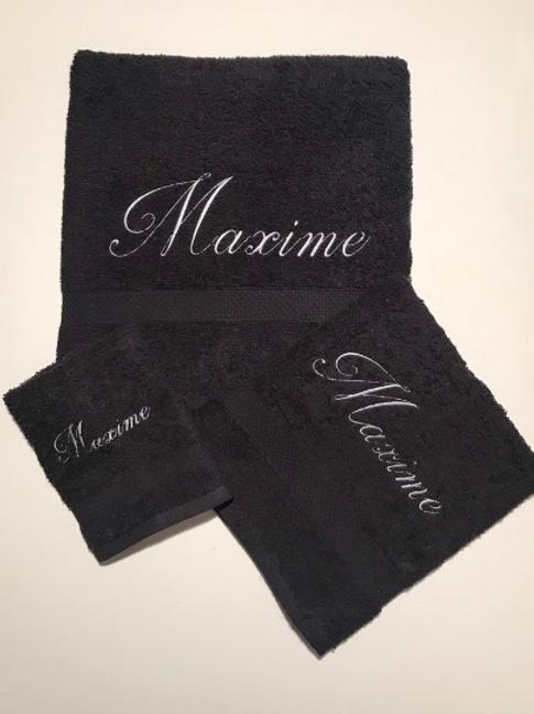 Lot de 3 serviettes noires