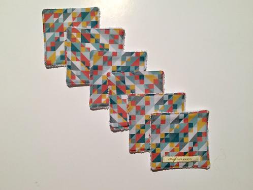 Lot de 6 lingettes lavables géométrique multicolore