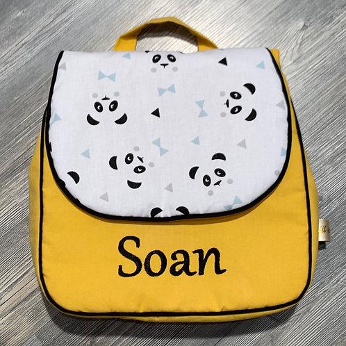 Sac à dos personnalisé en coton panda et jaune moutarde