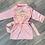 Thumbnail: Peignoir en satin rose broderie or clair