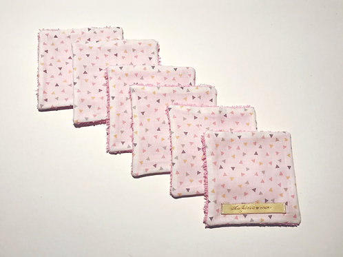 Lot de 6 lingettes lavables rose