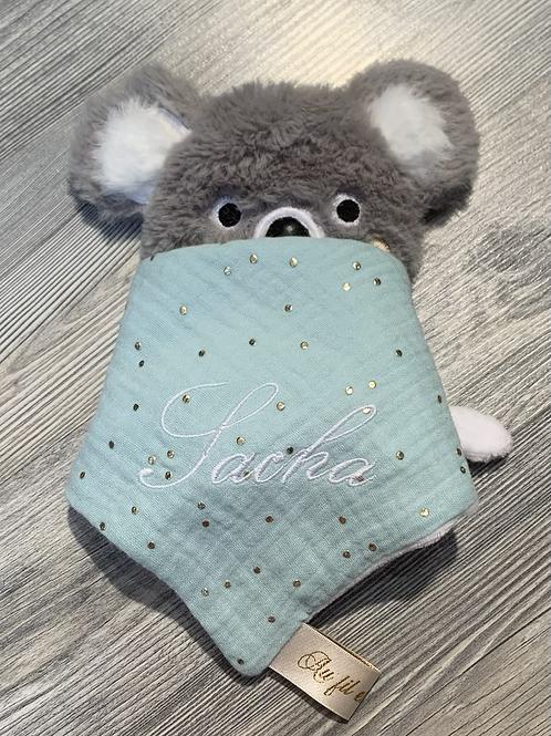 Doudou koala personnalisé lange mint pois or