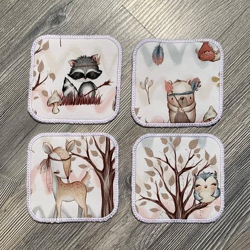 Lot de 4 lingettes lavables animaux de la forêt