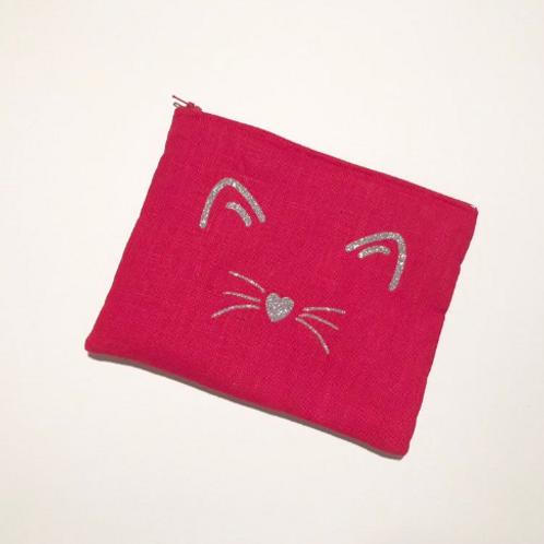 Pochette rouge en lin et flocage paillettes argent