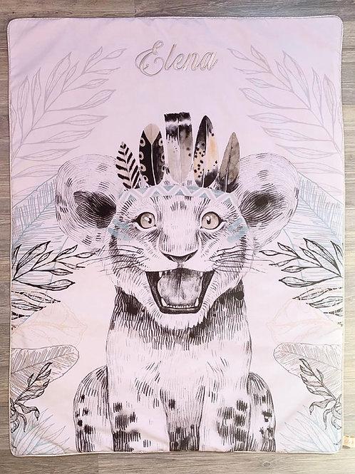 Couverture lionceau minky gris