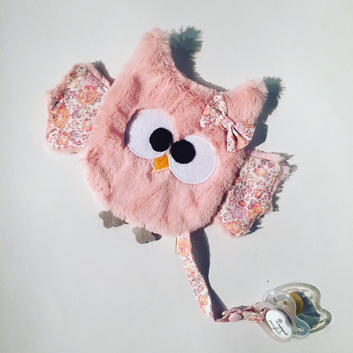 Doudou/ attache sucette hibou rose et liberty