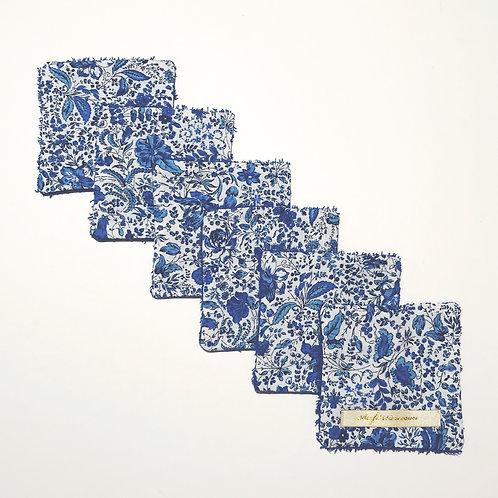 Lot de 6 lingettes lavables Liberty bleu roi