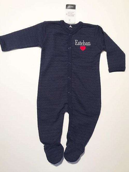 Pyjama bleu marine personnalisé prénom et coeur