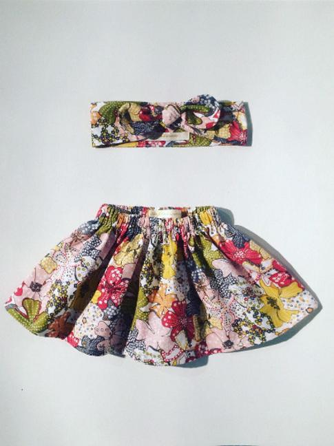 Ensemble jupe et bandeau fleuris