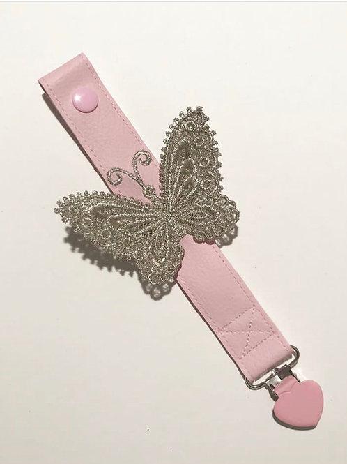 Attache sucette papillon or et rose pâle