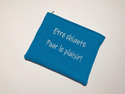 Pochette bleu turquoise flocage blanc paillettes