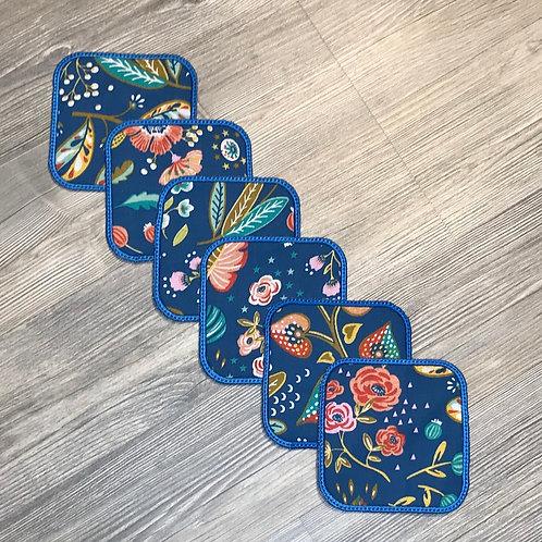 Lot de 6 lingettes lavables carrés fleuri bleu