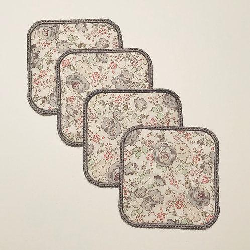 Lingettes carrés liberty gris