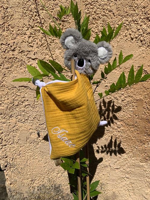 Doudou koala lange jaune moutarde