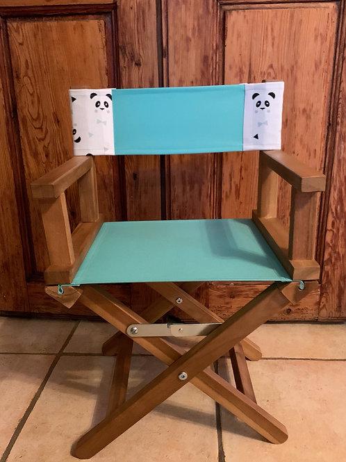 Chaise scénariste vert d'eau et panda