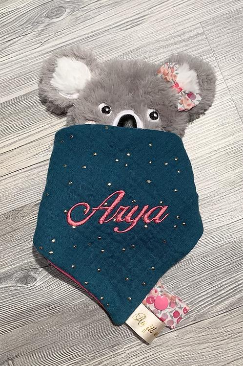 Doudou koala pétrole à pois et et fuschia