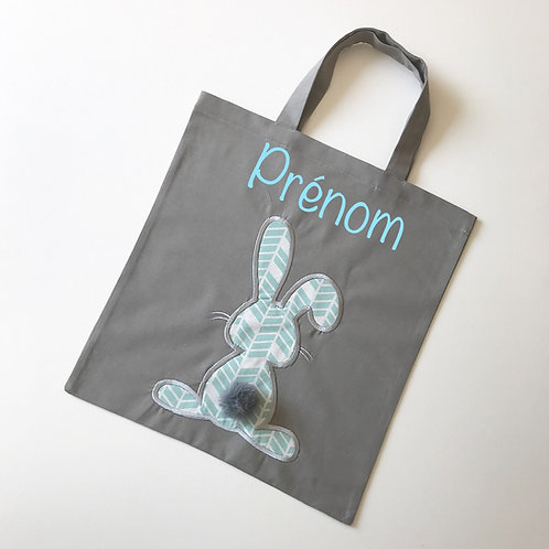 Tote bag personnalisé gris lapin