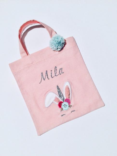 Tote bag personnalisé rose pâle broderie lapin