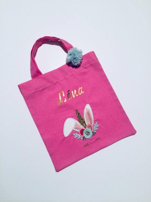 Tote bag personnalisé rose fuschia lapin