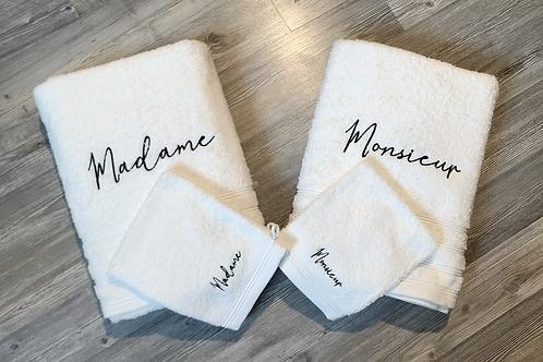 Ensemble serviette de bain madame /monsieur.