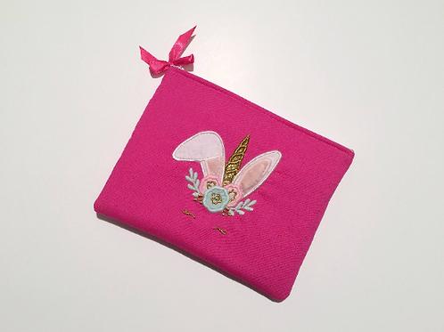 Pochette rose fuschia lapin licorne