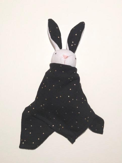 Doudou lapin lange noir à pois doré