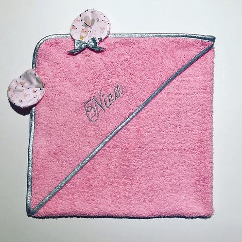 Cape de bain rose et argent souris