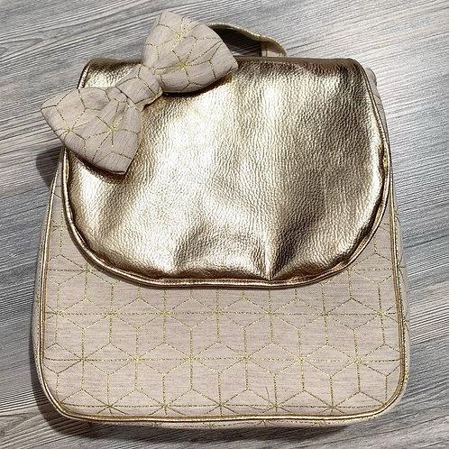 Sac à dos à personnalisé coton et similicuir or