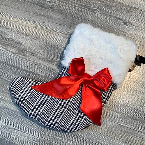 Chaussette de noël noir blanche rouge à personnalisé