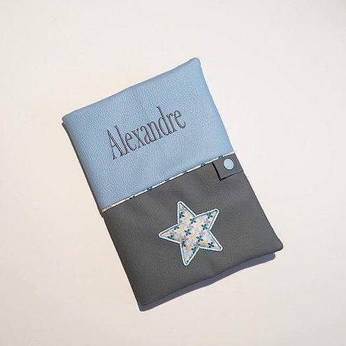 Protège carnet de santé  bleu et gris étoile