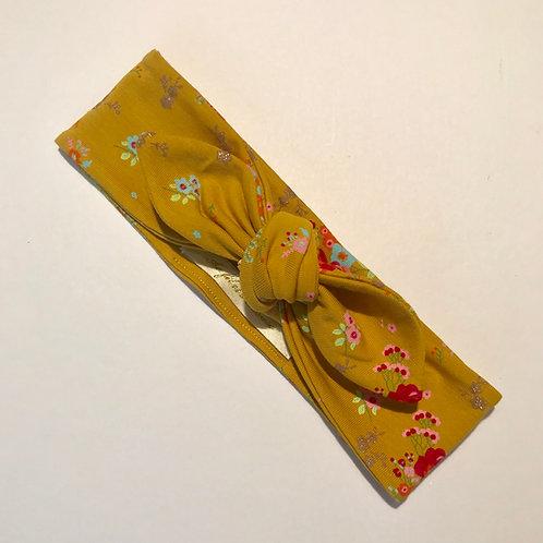Bandeau réglable moutarde fleuris