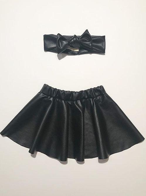 Ensemble jupe et bandeau en simili cuir noir