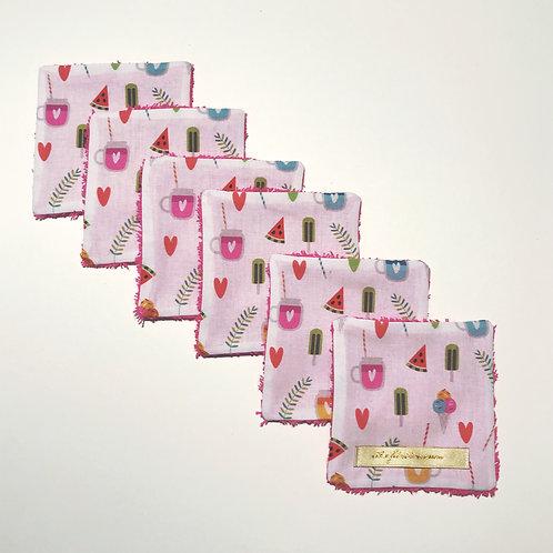 Lot de 6 lingettes lavables thème