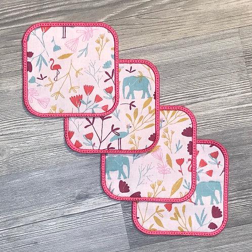 Lingettes lavables carré rose.