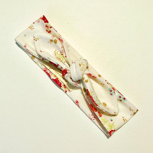 Bandeau réglable blanc fleuris
