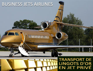 Transport de lingots d'Or en Jet Privé