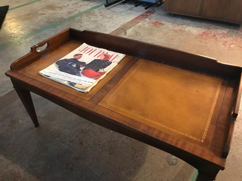 vintage heritage henredon sold mahogany wleather top coffee table - Leather Top Coffee Table