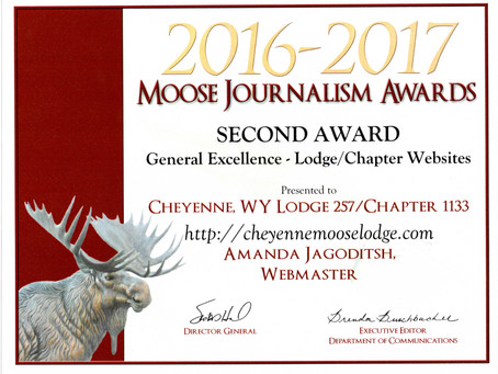 Cheyenne Moose Lodge Website Wins Award