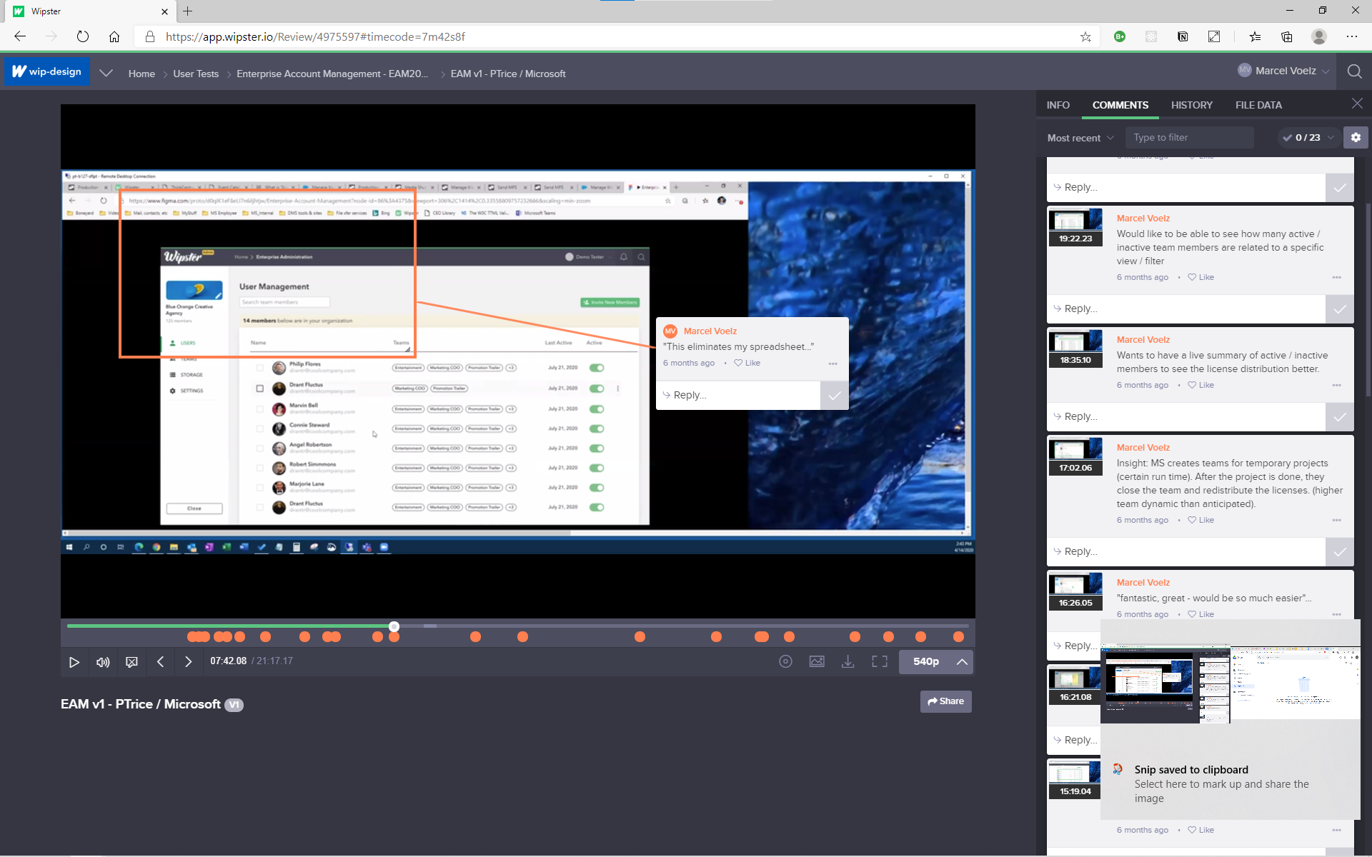 User Test Screenshot