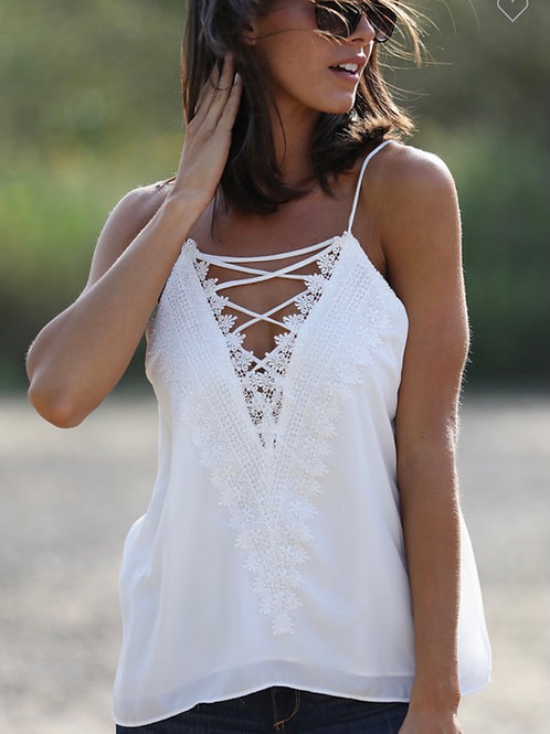 Embroidery Lace Tank Top