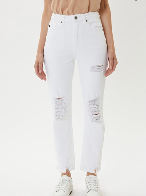 High Rise Distressed Slim Straight Jeans/Kan Can