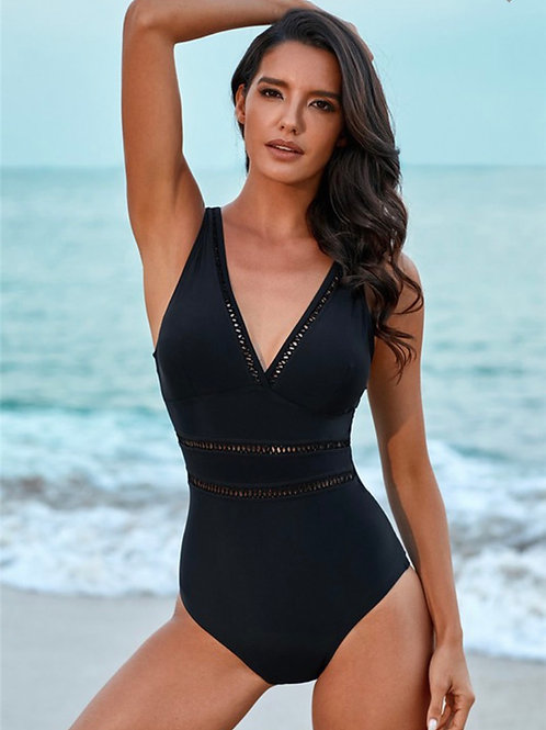 Lattice Fully Covered One Piece Swimmie
