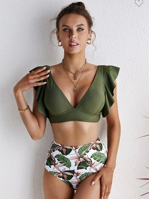 High Waisted Palm Bathing Suit