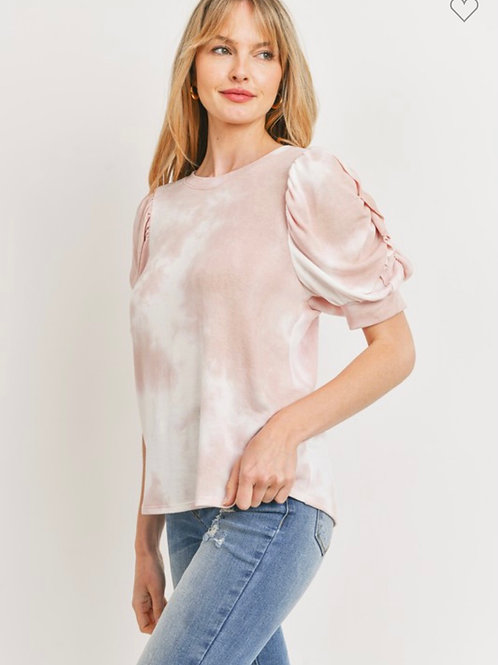 Puff Ruffled Detailed Sleeve Tie Dye knit top