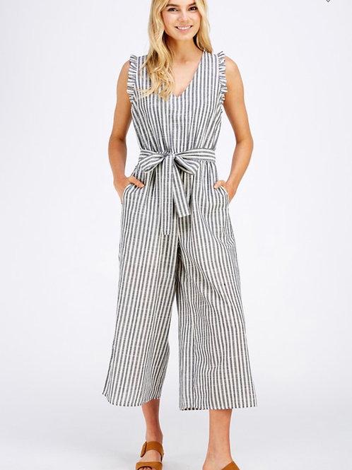 Linen Sleeveless Striped Jumpsuit/Gray Stripes