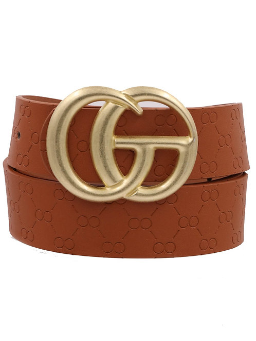 Double ring imprinted faux leather buckle belt