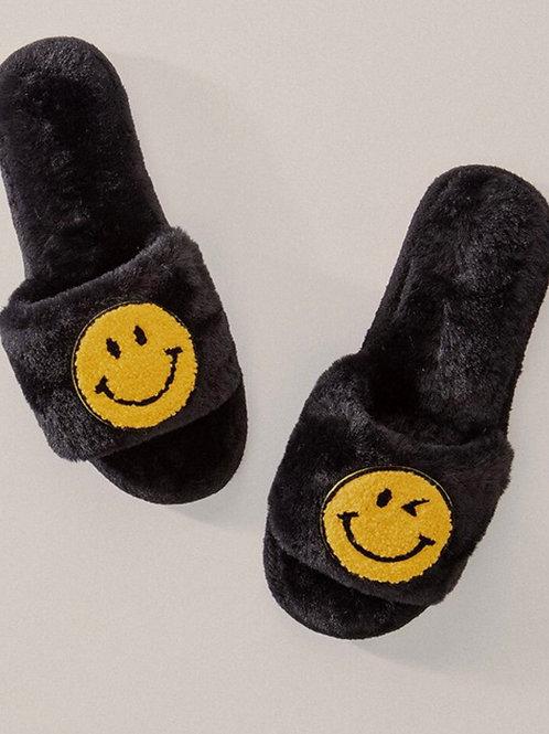 Smile Fluffy Open Toe Slippers