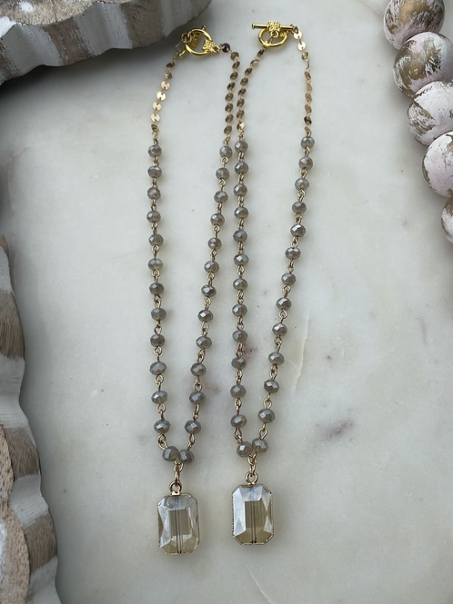 Grey and Gold Jewel Necklace